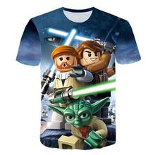 Новые 3D печатных футболка Star Wars, детские летние шорты с длинными рукавами Забавные футболки модные Повседневное, детская одежда футболка для мальчиков