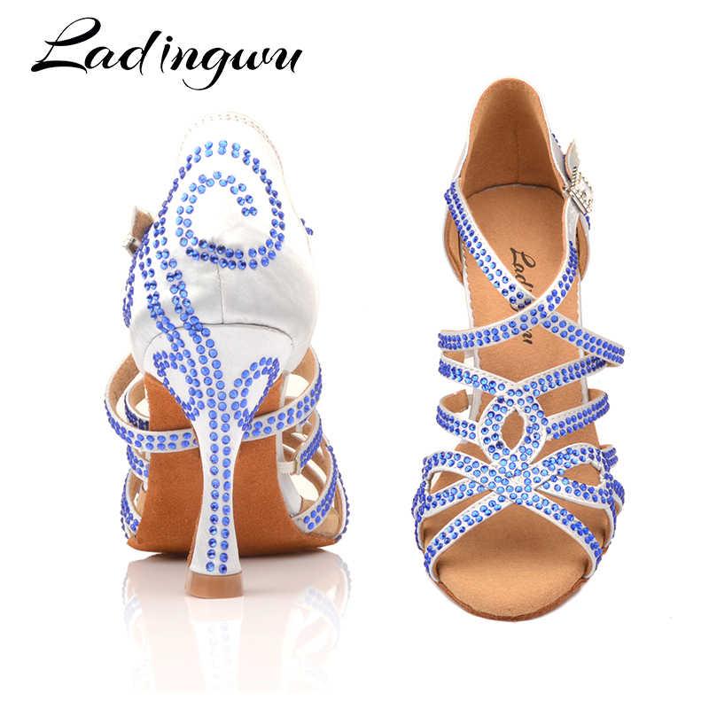Ladingwu łacińskie buty do tańca podwójne Rhinestone niebieskie błyszczące srebro szare satynowe damskie buty do tańca towarzyskiego kuba obcas 9cm