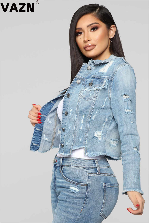Vazn osm6107open 셔츠 여름 캐주얼 untidy 성숙한 패션 라이트 블루 전체 슬리브 사무실 패션 여성 슬림 셔츠 outwaer 셔츠
