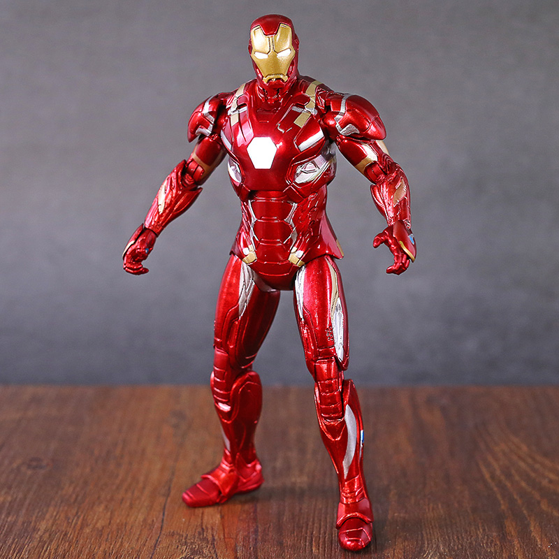 Captain America Civil War Iron Man MK46 PVC Action Figure Model Toy with LED Light