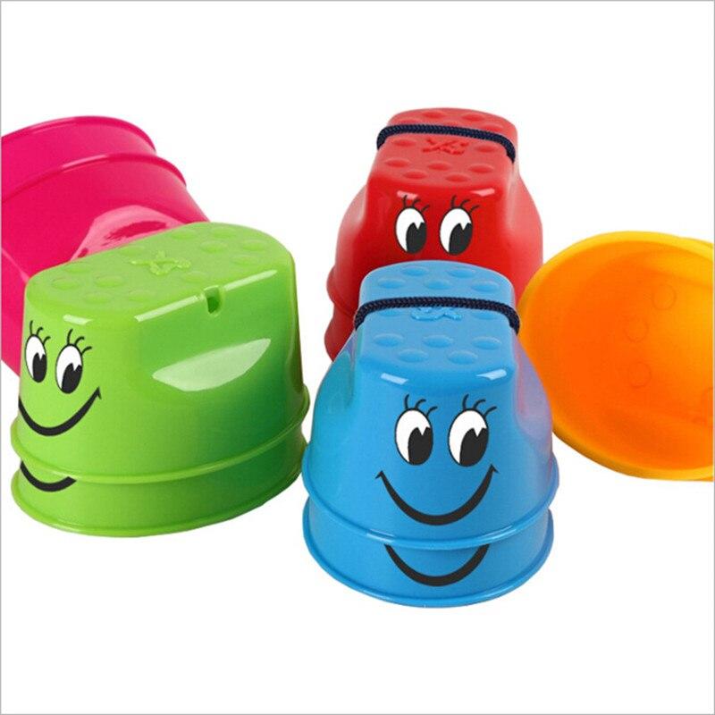 1 пара, Детская уличная пластиковая балансировочная тренировка, улыбающееся лицо, ходули для прыжков, обувь, игрушка-ходунок, забавные