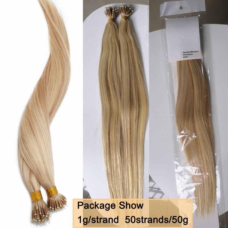 SEGO 16-24 cal 1 g/s 50 sztuk prawdziwe ludzkie włosy Nano ringi do przedłużania włosów rozszerzenia maszyna Remy pre-bonded prosto Nano Tip indyjskie włosy