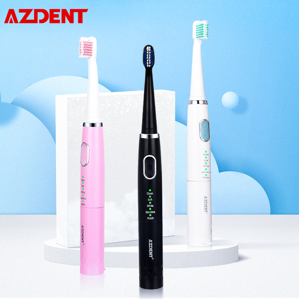 AZ-4 Pro Cheap Sonic Electric Toothbrush 5 Modes Timer Teeth Brush AA Battery Waterproof 3pc Replaceable Heads No Rechargeable