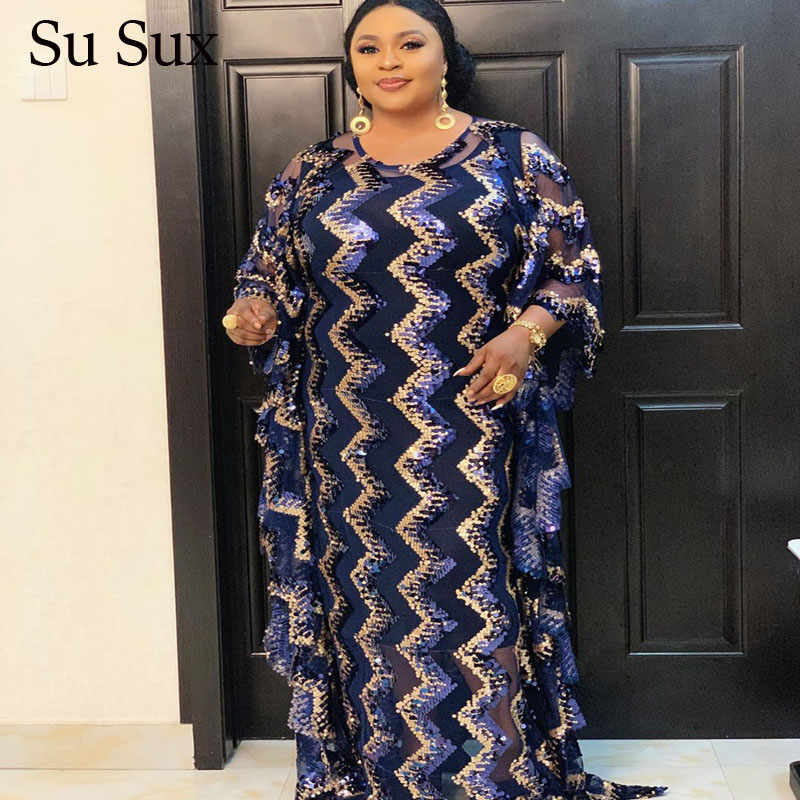 African Dresses For Women Plus Size Squines Loose Long Dress Robe Muslim Dashiki African Clothes O-Neck Bat Sleeve Maxi Dress