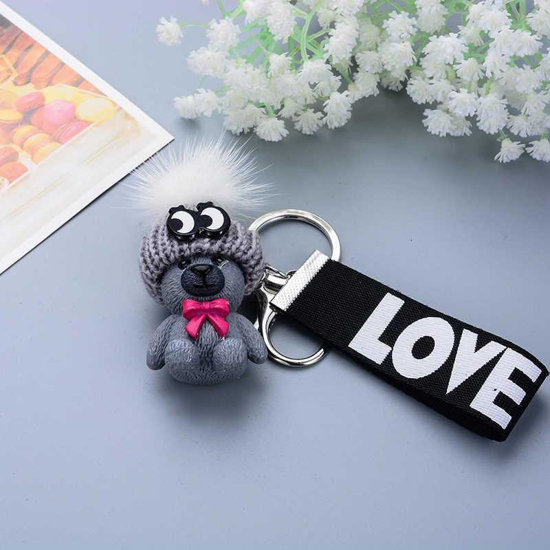 การ์ตูนพวงกุญแจตุ๊กตาหมีน่ารักหมีตุ๊กตาหมวกพวงกุญแจผู้หญิงผู้ชาย Home Key CHAIN กุญแจรถจี้เครื่องประดับ
