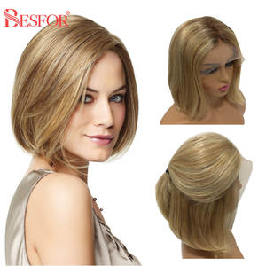 U-Part Wig Highlight Human-Hair Blonde Remy Honey Black-Women Ombre 613-Colored 150%Density