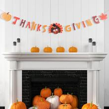 Thanksgiving Banner Paper Cute Maple leaves Turkey Pumpkin Thanks Giving Day Thanks Giving Fall Autumn Decorations 2020 New giving blood