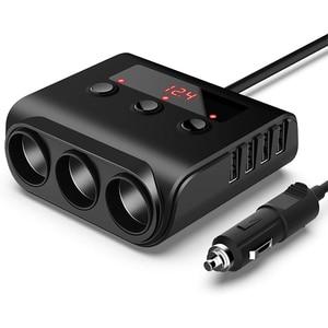 3 разветвитель прикуривателя с 4 usb-портами автомобильное зарядное устройство Быстрая зарядка независимый переключатель напряжения диспле...