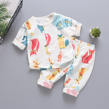 2019 Autumn New Baby Clothes Kids Pure Cotton Long Sleeve Suit Gauze Baby Cartoon Pajamas Air Conditioner Serve Suit цена