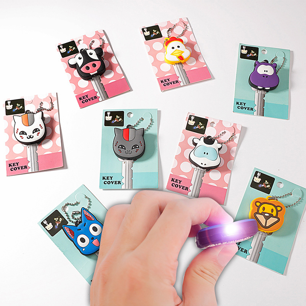 High-grade Cartoon Key Cover With Small LED Lamp Soft Silicone Protective Case Key Control Dust Cover Holder Key Chain Pendant