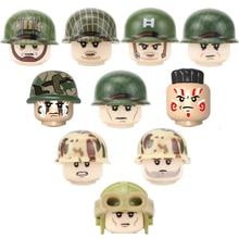 4PCS WW2 US Airborne Division 101st Soldier Building Blocks Military Navy Marine Corps Camouflage Helmet Accessories Bricks Toys