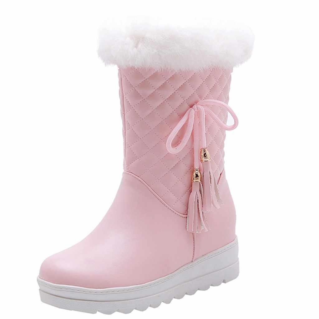 Mùa Đông Ấm Sang Trọng Đế Ủng Nữ Giữa Bắp Chân Đồng Màu Nơ Tua Rua Nữ Giày Sang Trọng Gót Dày giày Botas Feminina