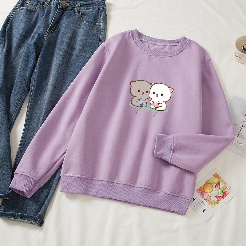Cute Cat Printed Hoodies Women Autumn Loose Sweatshirt Female Itself Harajuku Kawaii Hooded Pullover Thicken Couple Coat 20