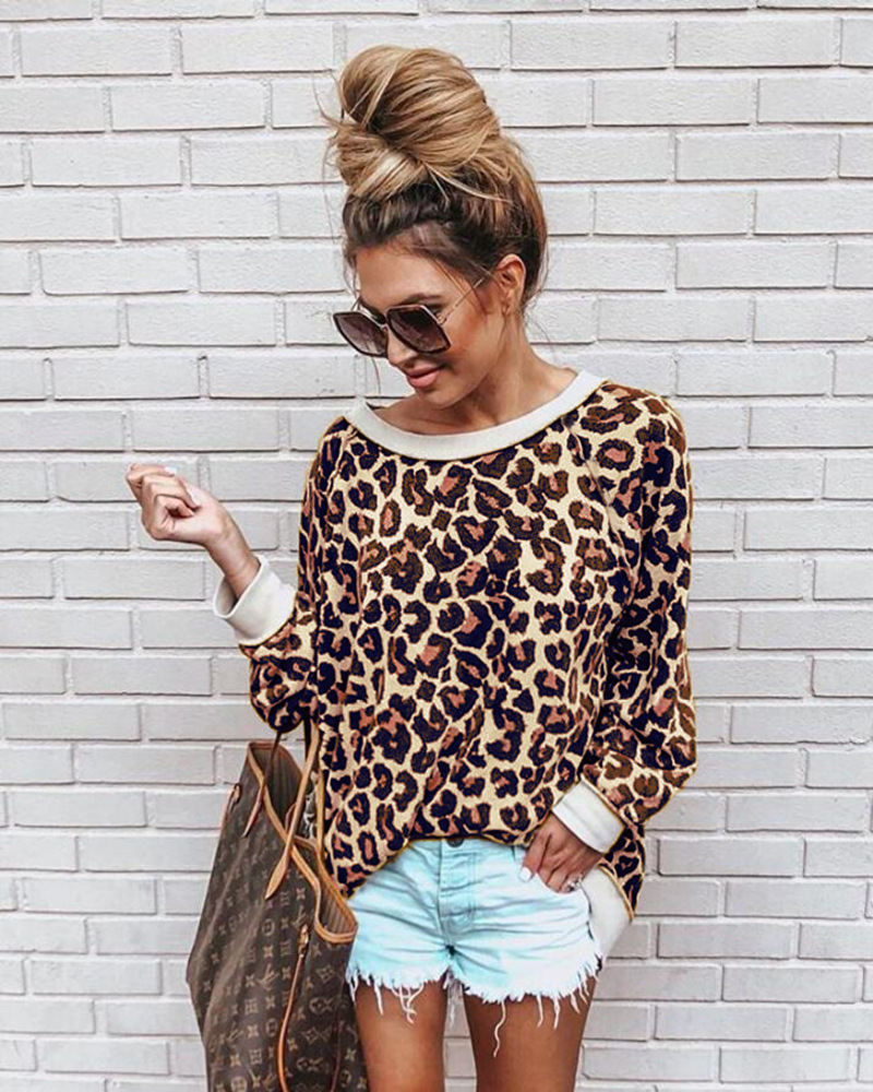 Spring Autumn Sexy Leopard Pullovers Hoodies Casual Long Sleeve Blouse Outerwear Sweatshirts thin loose shirts ladies Pullovers 1