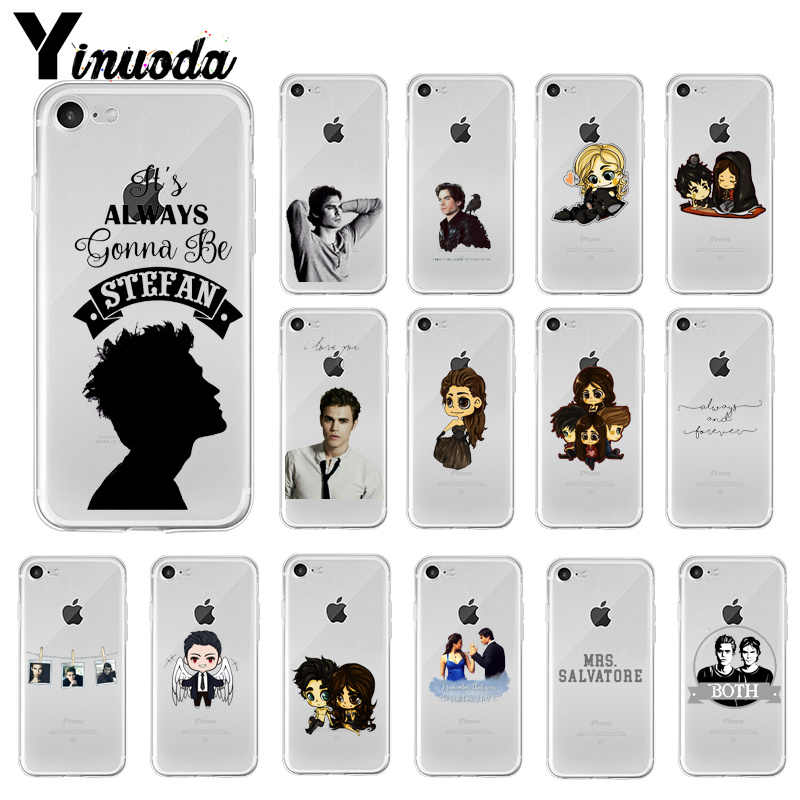 Yinuoda The Vampire Diaries Stefan Damon Salvatore Cell Phone Case untuk Apple Iphone 8 7 6 6S Plus X XS Max 5 5S SE XR Ponsel