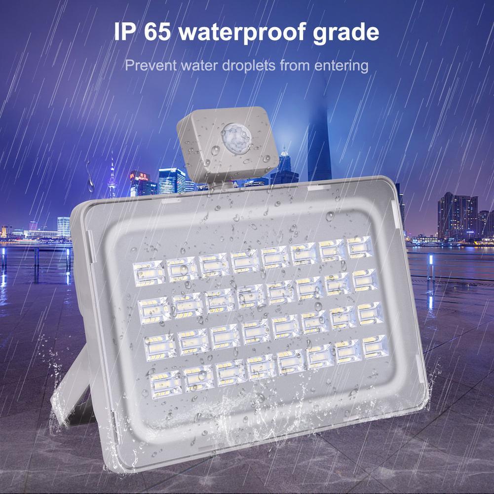 100 Вт Светодиодный прожектор 110В/220В умный датчик движения Прожектор IP65 водонепроницаемый наружный садовый светильник