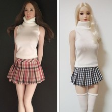 1/6 Scale Hotstuff UD TBL Female Shirt Plaid Skirt for 12 Inches Girl Action Figures