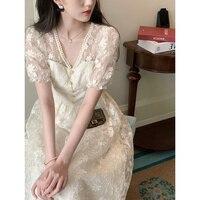 2021 neue Sanfte Französisch Stil Mori Erste Liebe Süße Temperament Tee Brechen Lange Kleid Spitze Kleid für Frauen Sommer