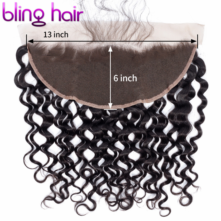 Bling Hair Water Wave 13x6 Lace Frontal Closure Pre plucked Brazilian Remy 100% Human Hair Closure With Baby Hair Natural Color-in Closures from Hair Extensions & Wigs