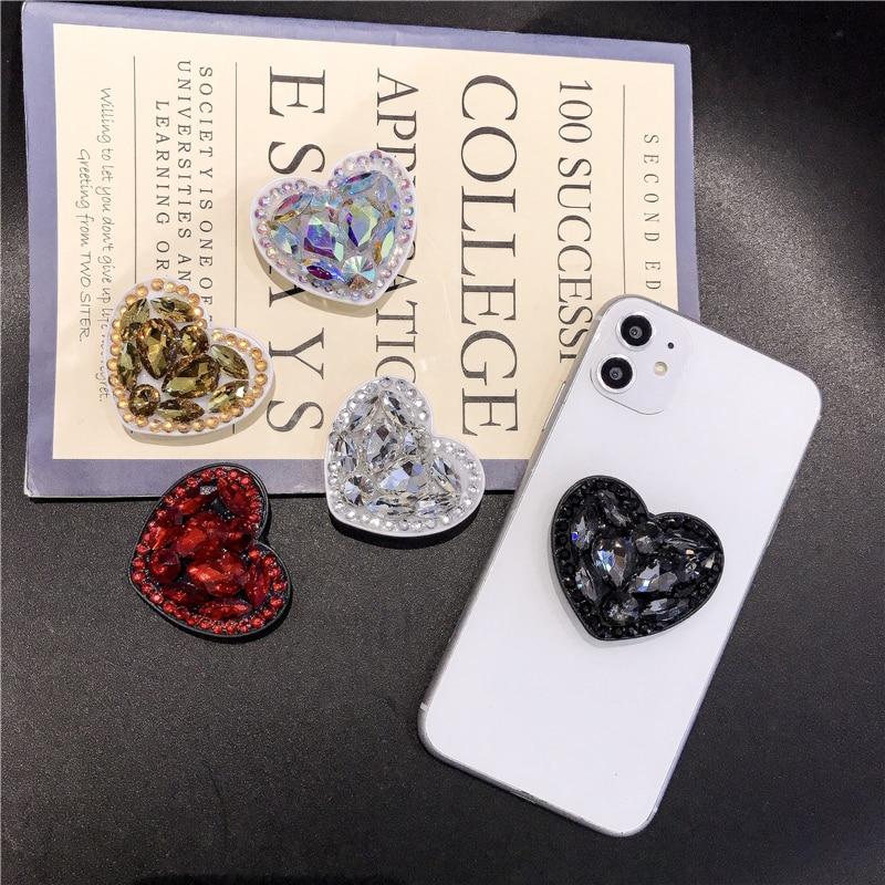 NEEW Finger Ring Phone Holder Bling Air Bag Diamond Love For SmartPhone Stander Universal Expanding Phone Socket Stents