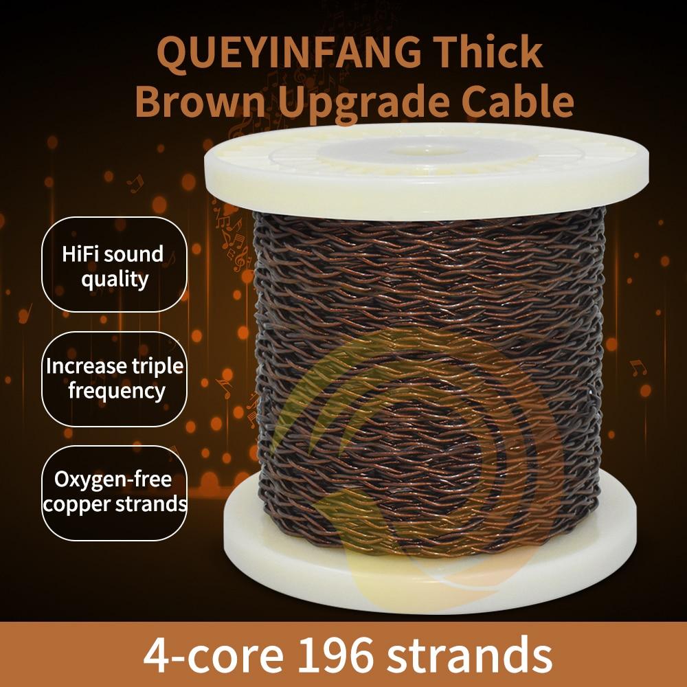 QUEYINFANG 4 rdzeń ulepszony kabel do słuchawek brązowy miedzi OFC 4-Core przewód słuchawkowy z osłoną PVC DIY kabel do słuchawek 1.5mm na rdzeń