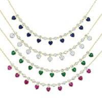 Collar de corazón de lujo para mujer, gargantilla de 5mm, rojo, verde, azul y blanco, joyería de cristal para el Día de San Valentín 2021