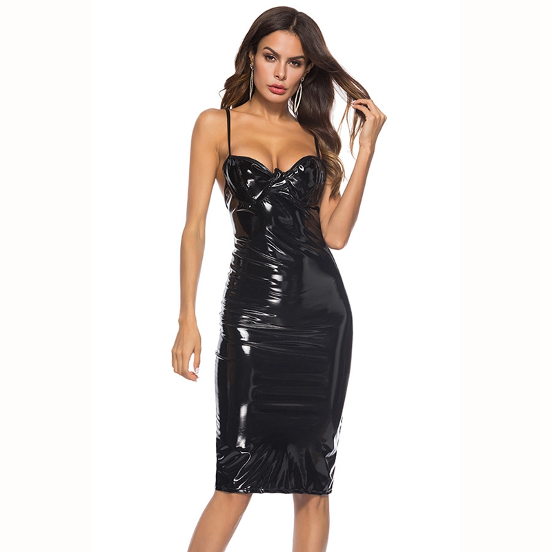 Women Wetlook Shiny Halter Dress Exotic Dancewear Hot Mini Dress Clubwear Faux Leather Sexy Lingerie Fetish Latex Pvc Dress XXXL