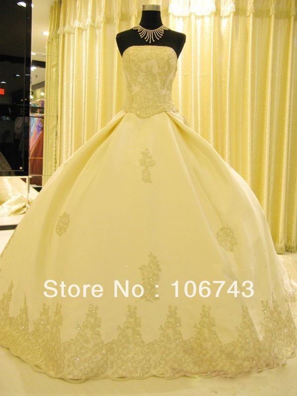 Free Shipping 2016 Luxurious Satin Applique Long Train Wedding Dress Bridal Dresses Pageant Gown