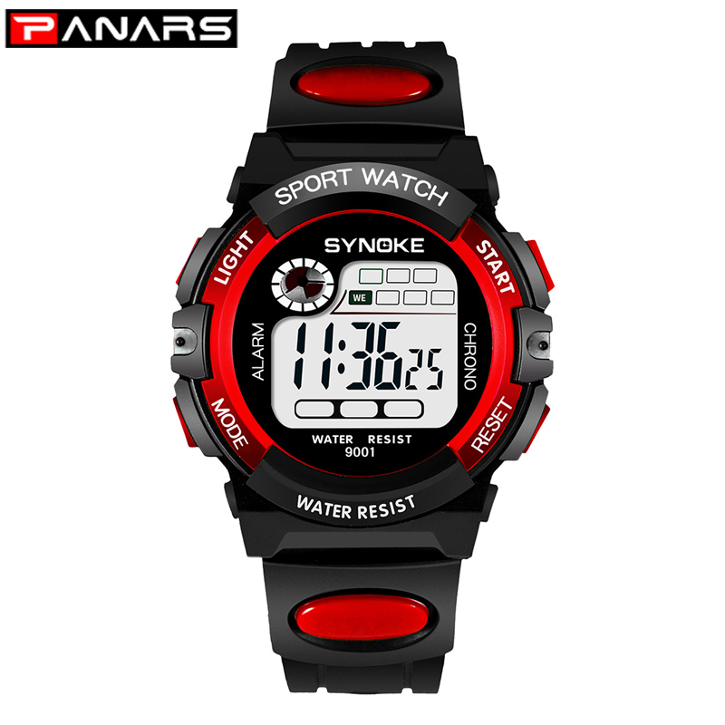 PANARS Sport Children Kids Watches Digital  Boy 3M Waterproof LED Alarm Date Sports Electronic Watch Red Relogio Masculino