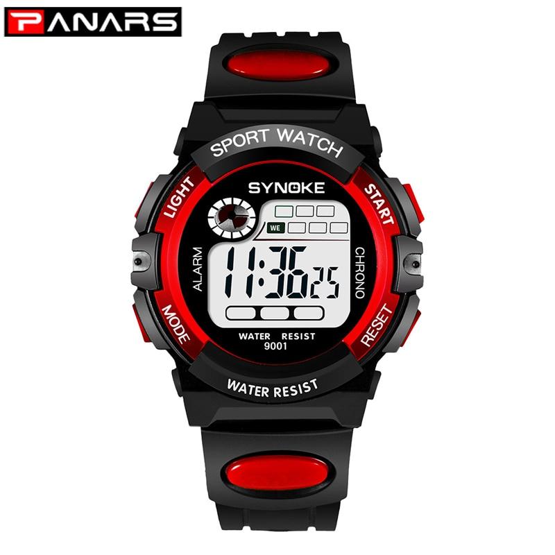 PANARS Sport Children Kids Watches Digital  Boy 3M Waterproof LED Alarm Date Sports Electronic Watch Red Relogio Masculino