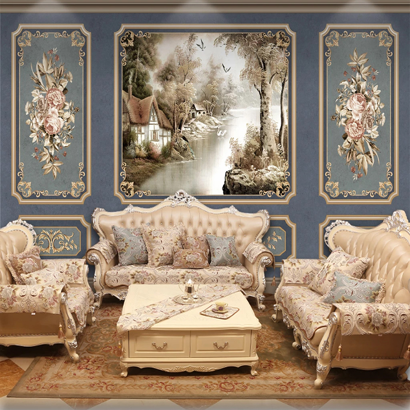 European Style Retro Wallpaper 3D Art Flowers Landscape Photo Mural Living Room Bedroom Blue Luxury Home Decor Wall Papers 3 D
