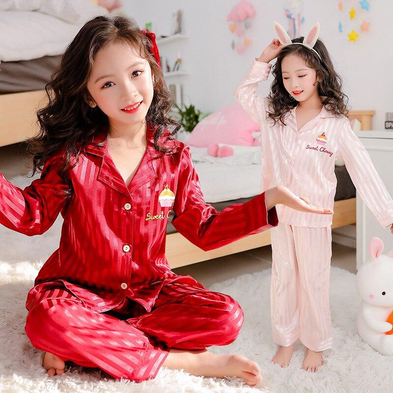Children   Pajamas     Set   2020 Spring Ice Silk Striped Kids Pyjamas For Girls Sleepwear Kids Outfits Homewear 8 10 Years Pijamas Boys