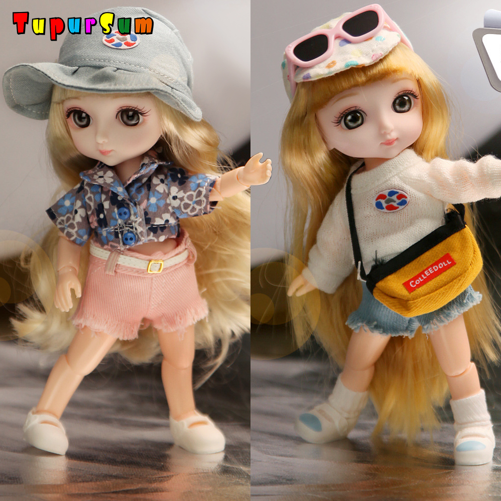 1/12 13 Moveable Jointed 16cm Blyth Dolls Lovely Bjd Doll with Clothes and Glasses Full Set Dress Up Dolls Toy for Girls Gift