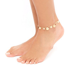 New Fashion Beach Foot Chain Anklets Bohemian Round Sequins Pendant Footchain Anklet Bracelet for Women Jewelry