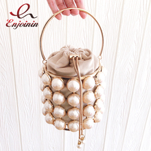 New Gold Pearls Evening Clutch Bag Women Purses and Handbags Luxury Beaded Designer Party Totes Ladies Metallic Basket Bag Bosla