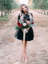 Черное платье для встречи выпускников милое мини простое кружевное