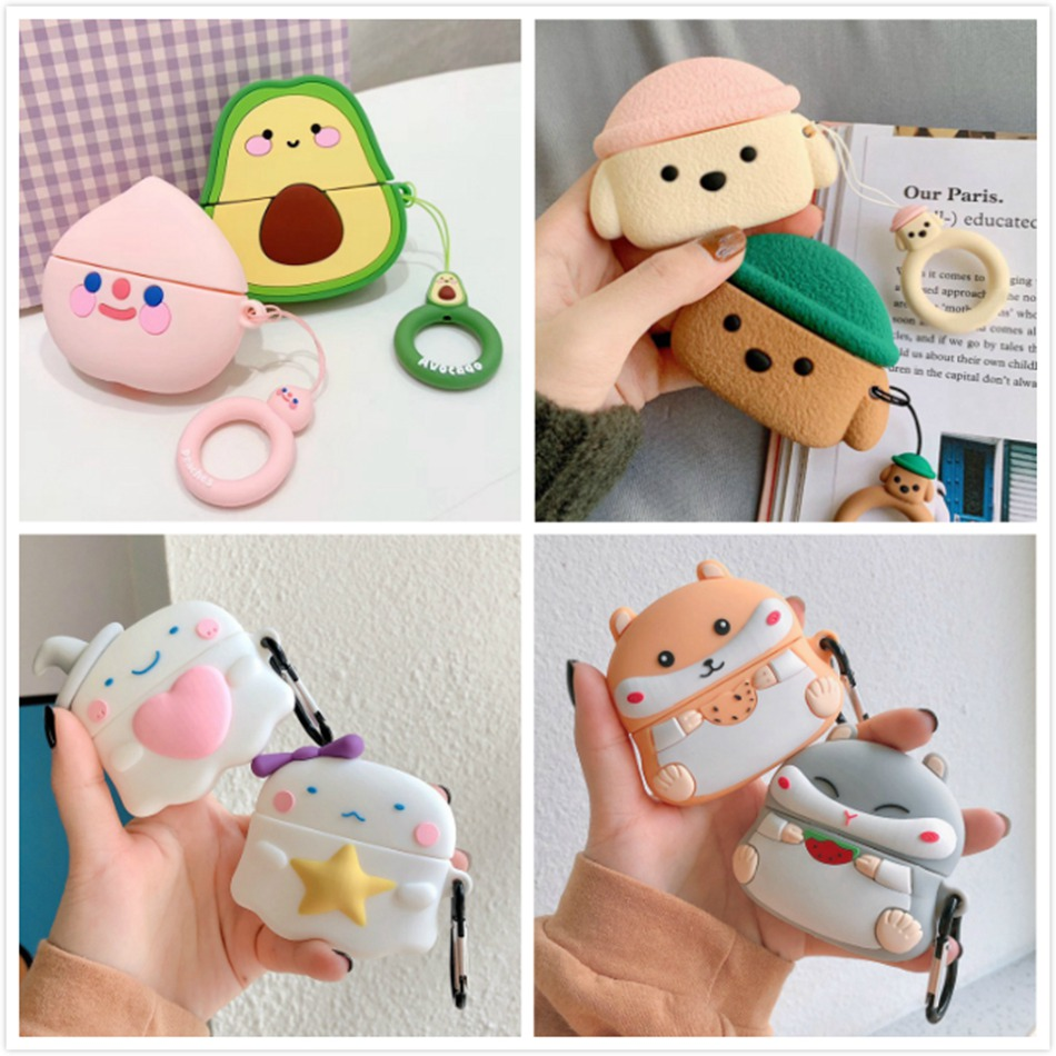 3D Earphone Case For Airpods Pro Case Silicone Bear Mouse Cartoon Headphone/Earpods Cover For Apple Air Pods 3 Pro Case Keychain