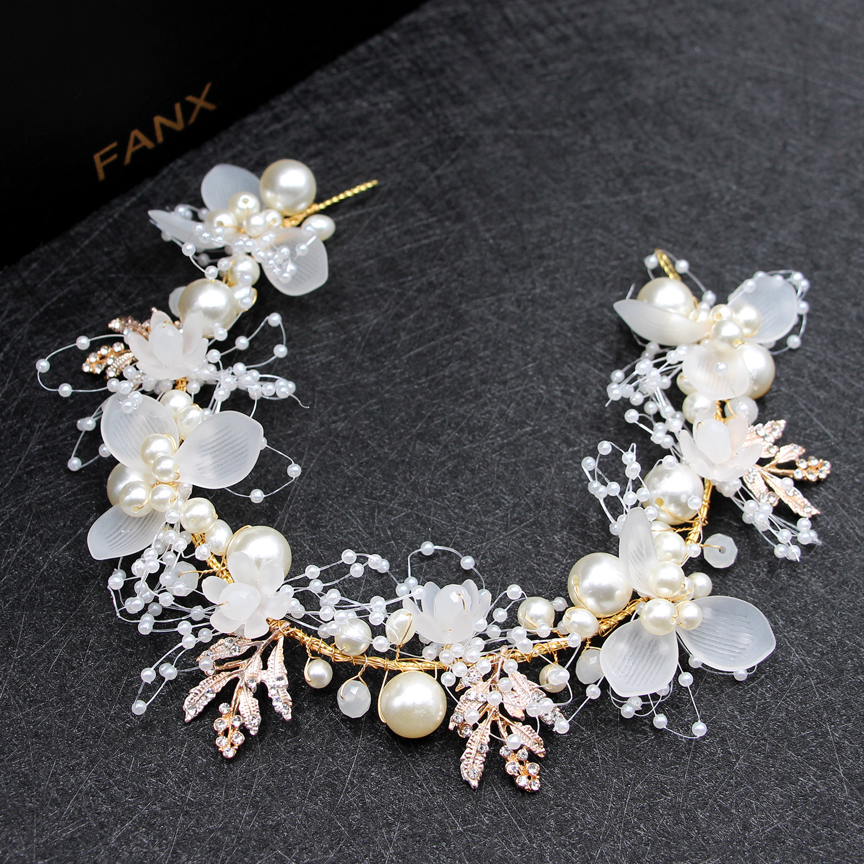 Bride Wedding Hair Accessories Gorgeous Flower Headbands Braided Hair Vine Pearl Headpiece Hair Ornament For Women Girls