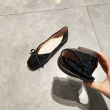 Shiny Patent Leather Ballet Flat Shoes Women Casual Flats with Bow Square Toe Slip On Shoes Ladies Soft Loafers Driving Shoes