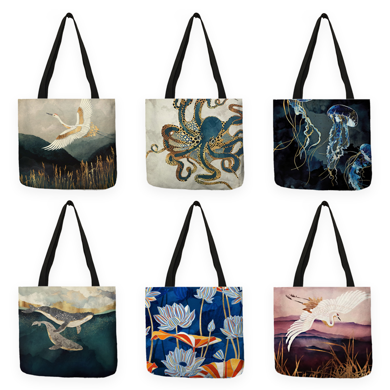 B13039 Japanese Ukiyoe Design Causal Women Handbag Tote Bag Eco Reusable Shopping Shoulder Bag