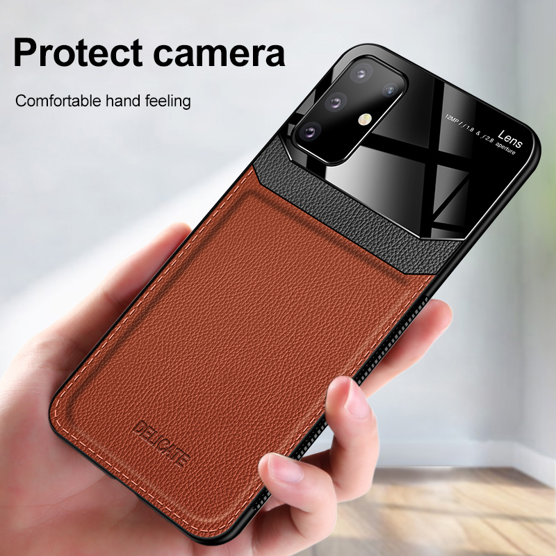 PC Grained Leather Skin-pattern Retro Bumper Back Phone Case for Samsung S20 Plus 3
