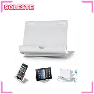 Подставка для планшета SOLESTE, вращающаяся на 360 градусов, 4-12 дюймов, складной алюминиевый многоугольный портативный держатель для Iphone 7 8 IPad ...