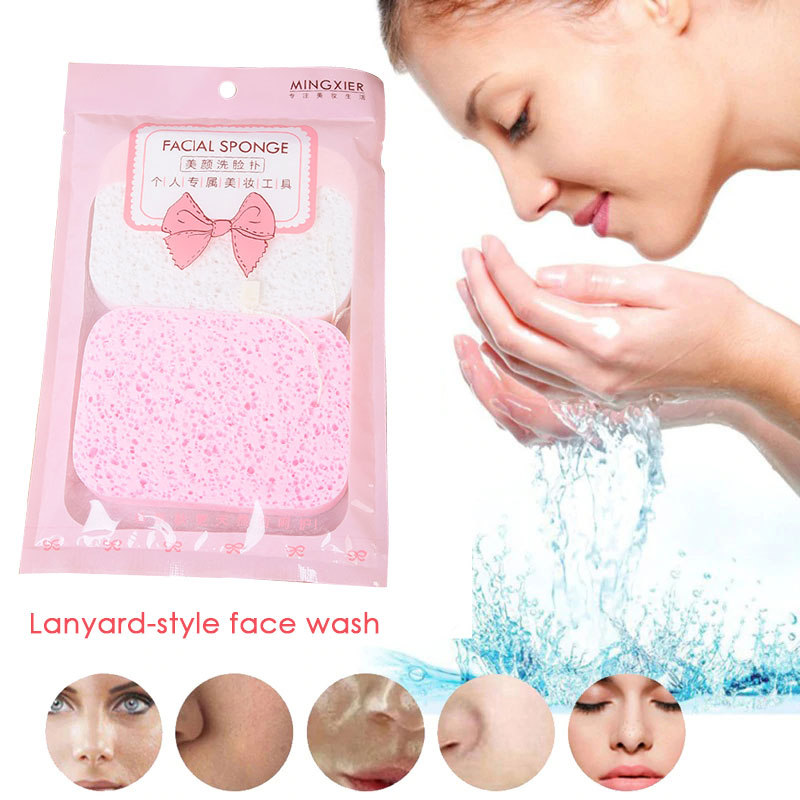 Cosmetic Wash Pad Blender Cleaning Pad Wash Pad Puff 2pcs/Set PVA Sponge Puff Fiber Puff Soft Comfortable Facial Cleaner