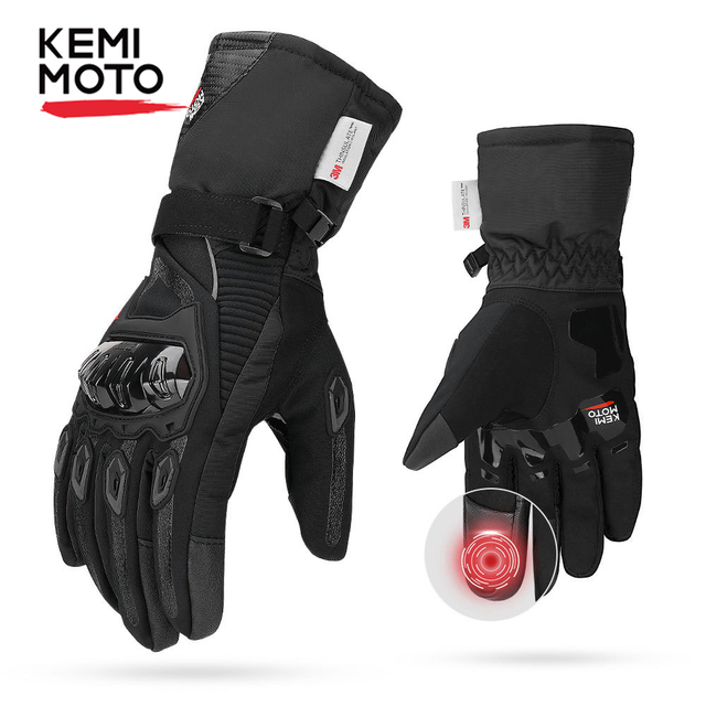 KEMiMOTO NEW 2020 Winter Motorcycle Gloves Protective Touch Screen Waterproof Windproof Warm Gloves Men Women Guantes Moto Luvas