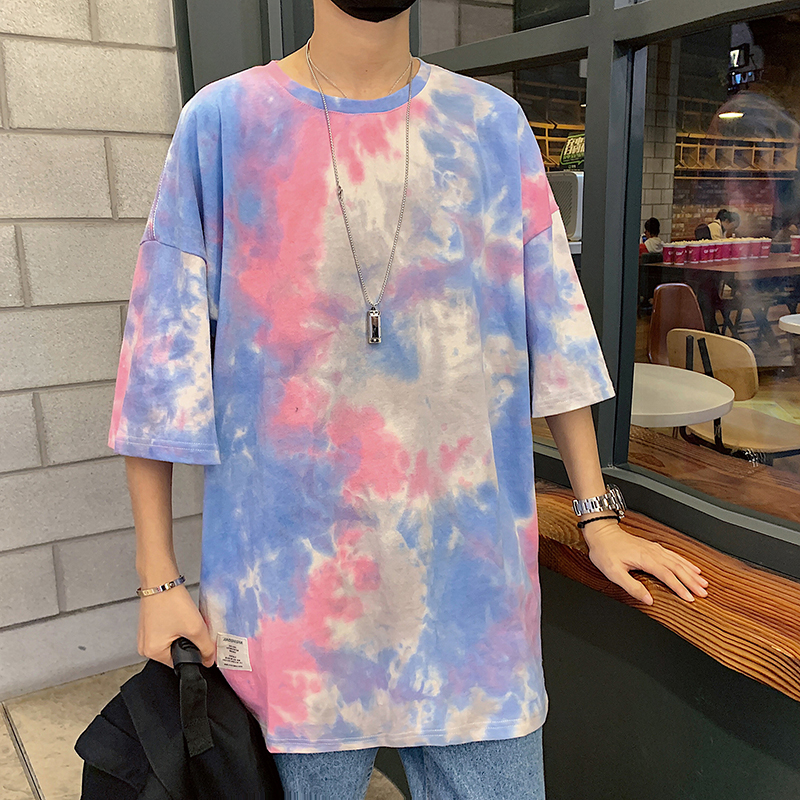 USUROM Mix Colors T Shirt Men Women Fashion Tie Dye Vintage Loose Short Sleeve 100% Cotton Tops Men Clothing Hip Hop Streetwear