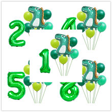 32Inch Groen Aantal Folie Ballon Baby Shower 1 Jaar Oud Verjaardag Jungle Thema Party Decoraties Dinosaurus Ballons 1st 2nd(China)