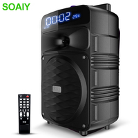 Outdoor Big Speaker Pull rod Bluetooth Remote Wireless Portable Microphone Clock LED FM TF Square Garden Picnic Party Subwoofer