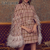 GALCAUR Patchwork Feathers Diamonds Plaid Women's Coats Turtleneck Cloak Sleeve High Waist With Sashes 2020 Fashion New Clothes