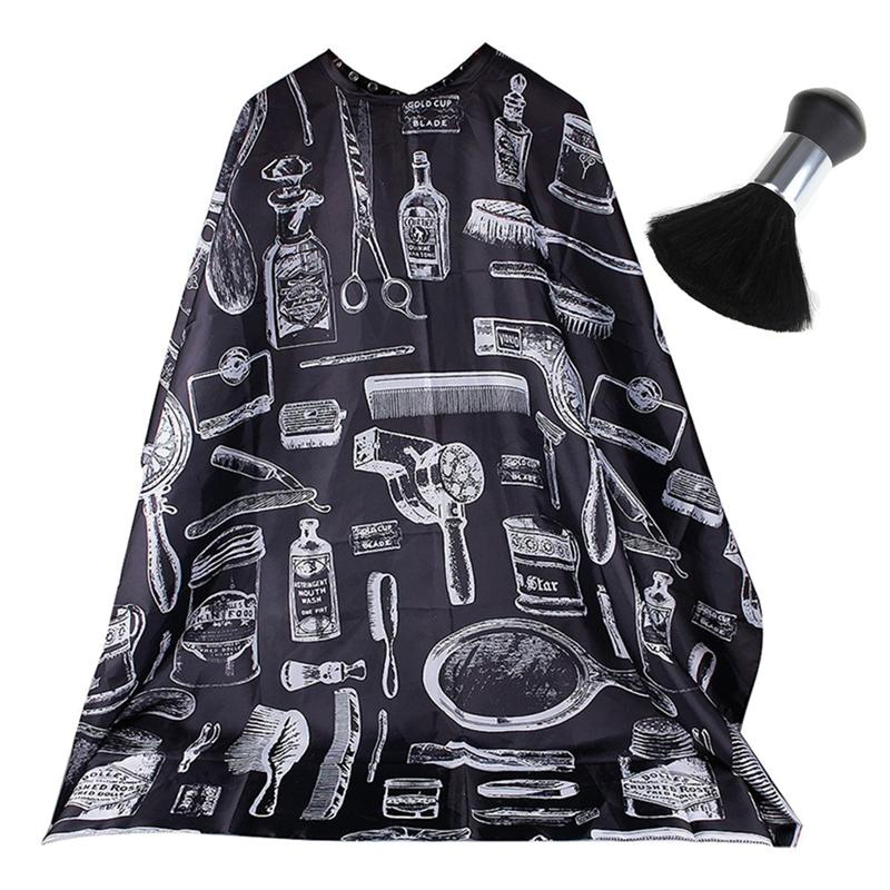 2 Pcs Hairdressing Tools Set Professional Hair Styling Waterproof Hair Cutting Gown Haircut Cape With Neck Duster For Salon Home