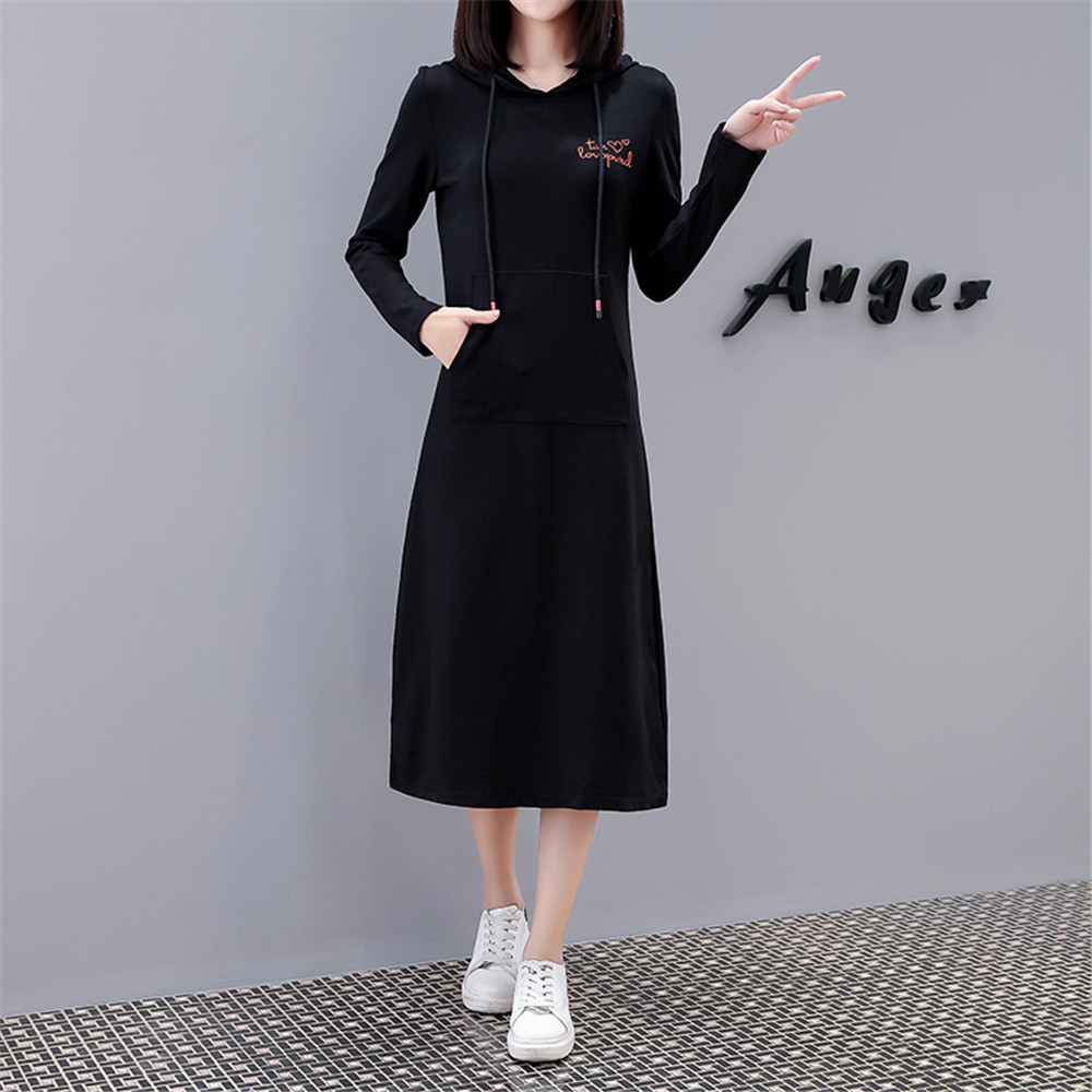 Autumn And Winter Plus Velvet Large Size Dress Korean-style Fashion Mid-length Hoodie Dress Embroidered Loose-Fit Long-sleeved T